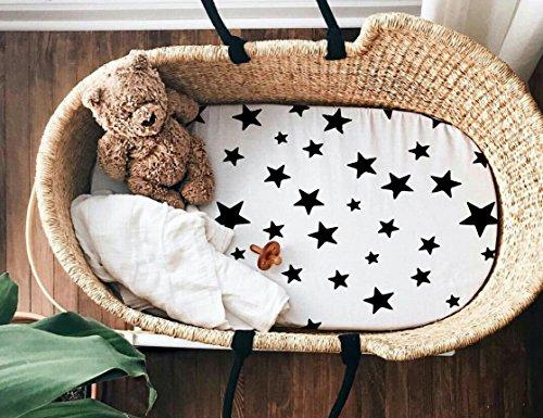 Star Moses Basket Fitted Sheets, Gender Neutral Baby Bedding, Bassinet Sheet Stars Stroller Sheet Handmade, Modern Baby Shower Gift Monochrome Nursery
