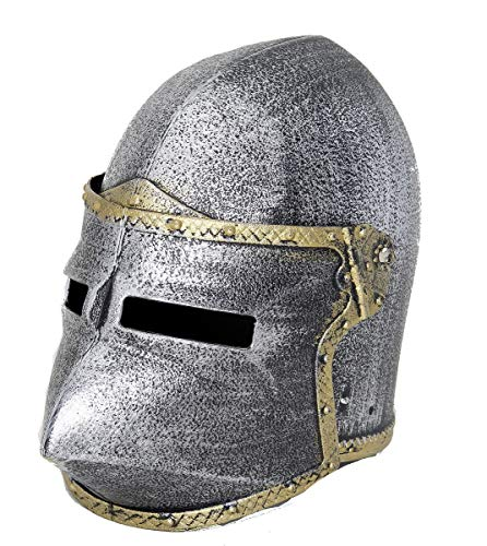 Kid's Pewter Pig Face Pointed Medieval Knight Helmet with Flip Up Mask