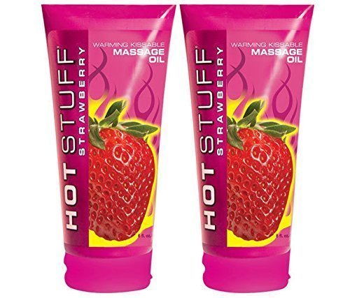 Hot Stuff STRAEBERRY Warming Kissable Massage Oil Sugar Free Lubricant : Size 6 Fl. Oz (Pack of 2)