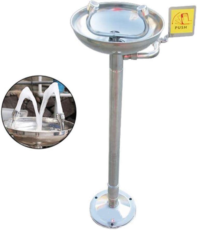 JL Montado Pedestal Estación Lavaojos Emergencia Todo el Acero Inoxidable 304 Boquilla Doble con Cubierta Antipolvo Boquilla Lavaojos Tipo Vertical Agua de Espuma Grifo,Manual