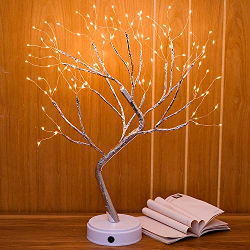 Qunlight Upgraded Copper Wire Tree Branch Decorative No Heat Lights,USB&Battery Powered,20Inch 108 Warm White LED,Table Lamp for Home Decoration,Wedding Sign,Living Room,Bedroom Or Bar(Warm White) (Lamp Table Novelty)