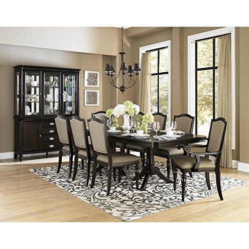Double Pedestal Dining Set - Montello 9 Piece 76-92 inch Double Pedestal Dining Set in Dark Cherry - Table, 2 Arm, 6 Side Chairs