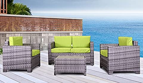 The Eden Rock Collection - 4 Pc Outdoor Rattan Wicker Sofa Sectional Patio Furniture Set. Choice of Set & Cushion Color (Mixed Grey / Lime Green Cushions)