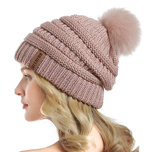QUEENFUR Women Knit Slouchy Beanie Chunky Baggy Hat with Faux Fur Pompom Winter Soft Warm Ski Cap (Rose Pink)