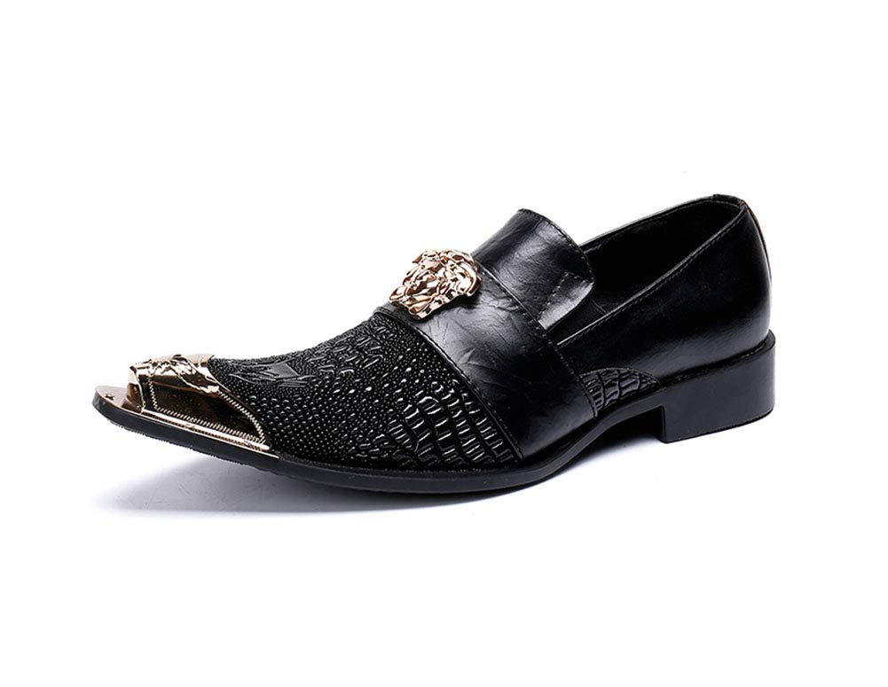 EU38 SHOES Men's Metal Pointed Toe Leather Bar Dress Western Chelsea Rock Singer Casual Wedding Metal Cap For Nightclub,Business,Wedding,Casual,Office,Party,Size 37 To 46