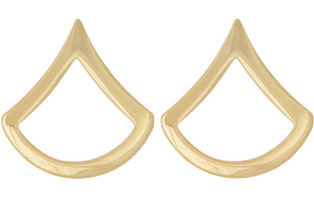 U.S. Army Metal Pin On Enlisted Rank NON-SUBDUED (SHINY) - 1 PAIR (E3 PFC)
