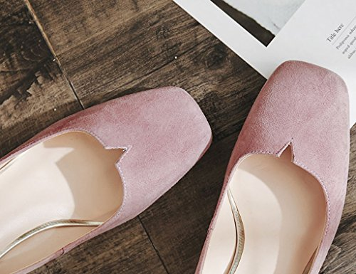 Superficiale Scarpe Alto Della Dimensioni Donna Scarpe Tacco Rosa Zcjb Bocca Tacco Col Grosso Testa 38 colore Carriera Sandali Nero Quadrata qv0tw