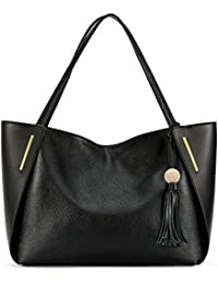 Leather Tote Bag Top Handle Shoulder Bag with Tassel Decoration