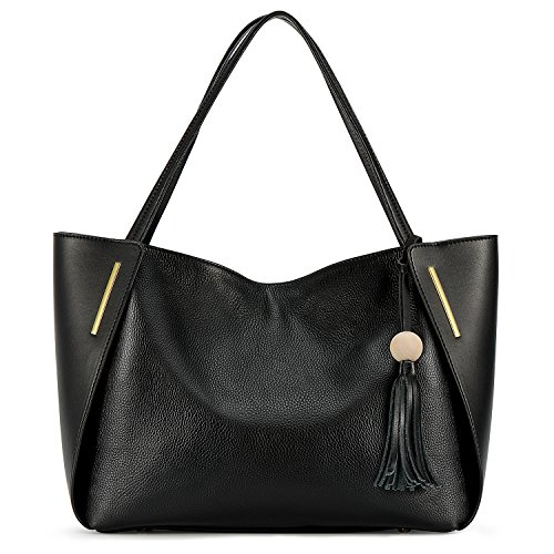 Kattee Leather Tote Bag Top Handle Shoulder Bag with Tassel Decoration (Black)