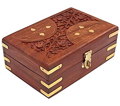Buy craftland wooden jewellery box brass n carving for women jewel