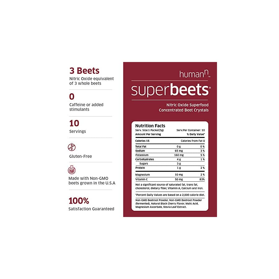 HumanN SuperBeets Circulation Superfood Concentrated Beet Powder Nitric Oxide Boosting Supplement (Black Cherry Flavor, 0.175 Ounce, 10 Packets)