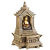 Golden Buddha Temple Faux Stone Tabletop Water Fountain