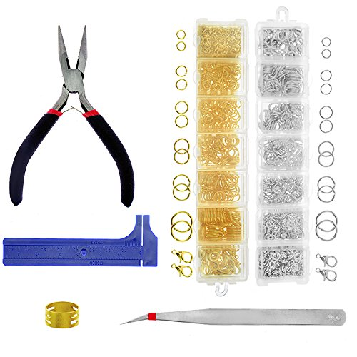 BIGTEDDY - 1388pcs Open Jump Rings and Lobster Clasps for Beginner Jewelry Repair Bead Making Findings Starter Kit Set with Plier Tweezer Caliper and Ring Loop Opener (Gold and Silver) ()