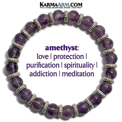 MEDITATION: Natural Amethyst Gemstones   Silver Ribbed Rondelles   Yoga Chakra Stretch Beaded Charm Bracelets   Reiki Healing Energy Meditation Jewelry