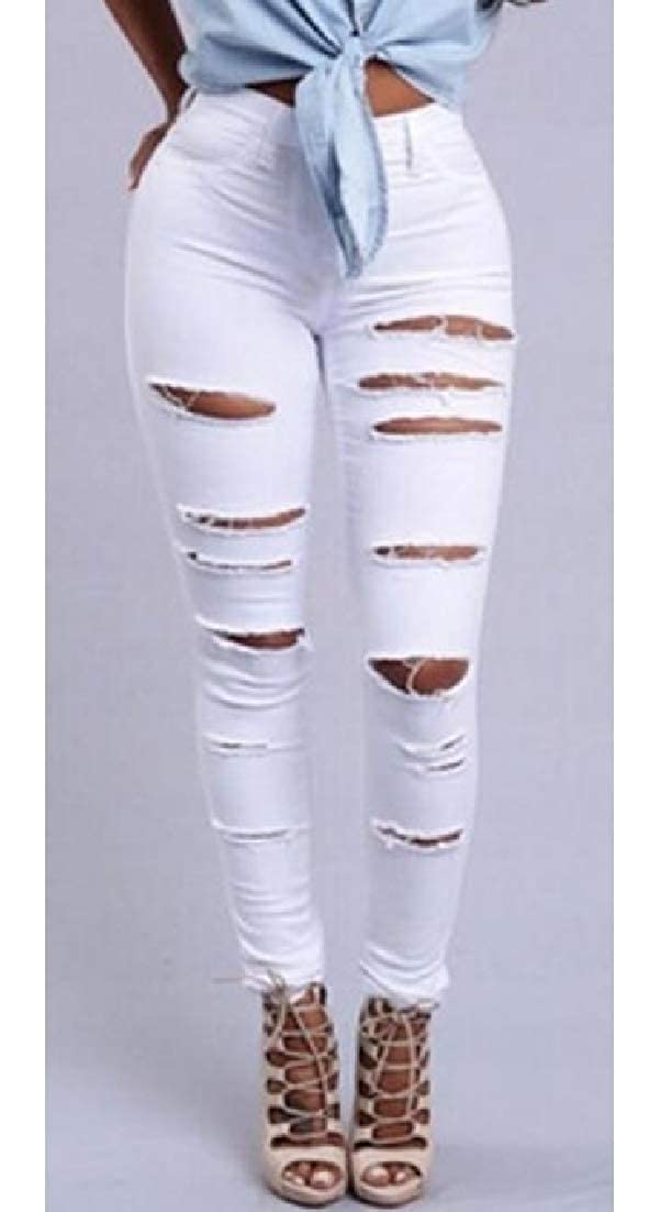 BLTR Women Stretch Slim Destroyed Ripped High Waisted Denim Jeans Pants
