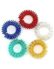 Savita 5-pack taggiga sensoriska fingerakupressurmassageringar, tyst fantastisk fidget sensorisk leksak för barn tonåringar och vuxna - hjälper till med fokus ADHD OCD & autism, 5 ljusa färger