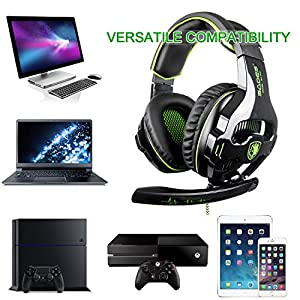 Xbox one Gaming Headsets, SADES SA810 Over Ear Headphones Stereo Bass 3.5MM Plug In-line Control With Microphone For Xbox One/ PC/ PS4/ Laptop(Black Green)