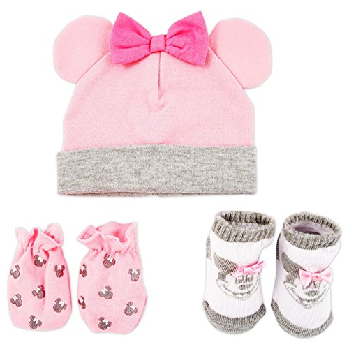 Disney Baby Girls Minnie Mouse Hat, Mitts and Socks Take Me Home Gift Set, Age 0-3M ()