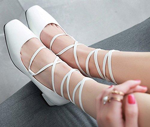 Bout Aisun Lacets Carré Femme Escarpins Blanc À Classique EPEq7xRp