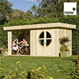 Rowlinson Wooden Connor Unpainted Leisure Chalet Wood Tongue and Groove Clad