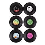 Generic 6x Round Vintage CD Vinyl Coaster Record Cup Drink Holder Mat Table Placemat
