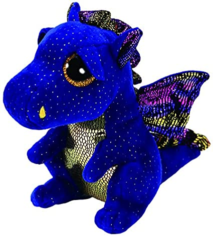 "Ty 9"" Saffire Medium Blue Dragon Beanie Boos Plush Stuffed Animal w/ Heart Tags"
