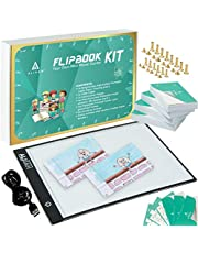 Animation Flipbook - Flip Book Kit With Light Pad for Tracing 360 Sheets Flipbook Paper With Binding Screws : A4 Size LED Light Box/Light Tablet for Tracing Animation Books.
