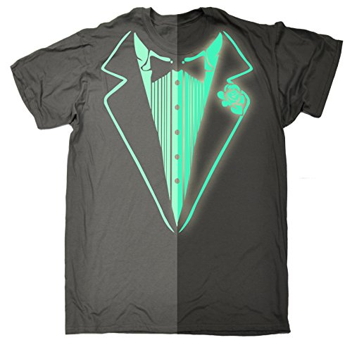 Glow In The Dark Tuxedo T-Shirt Prom Tee Luminous Fancy Dress Tux Top Party Costume (M - CHARCOAL) T-SHIRT