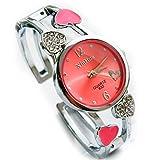 TODDCAHALAN Women's Bracelet Wrist Watch Rhinestone Beads Red Hearts Quartz Analog