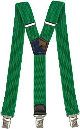 Msendro Men's Suspenders Y Shape Adjustable Elastic Heavy Duty Clip on Braces X-Large Green -