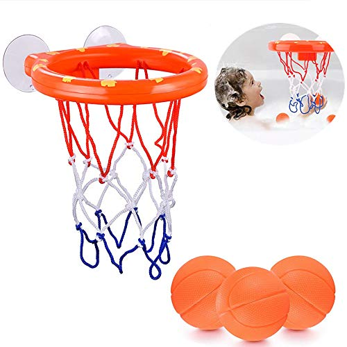 ALLCELE Kids Bath Basketball Hoop & Balls Playset for Preschool Boys & Girls | Bathtub Shooting Game for Kids & Toddlers | Suctions Cups That Stick to Any Flat Surface + 3 Balls Included