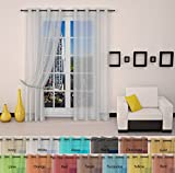 Best Sheer Grommet Window Curtains Panels for Bedroom, Living Room, Kitchen, Kid's Room and Outdoors – High Quality Durable Polyester-2 Pieces (54×108 inch, White)