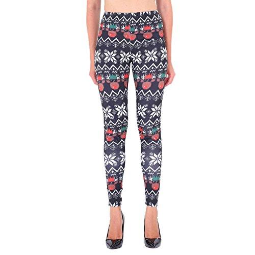 NiSeng Mujeres Skinny Navidad Impresión Elástico Skinny Pantalones Leggins Slim Pantalones Estilo 25#
