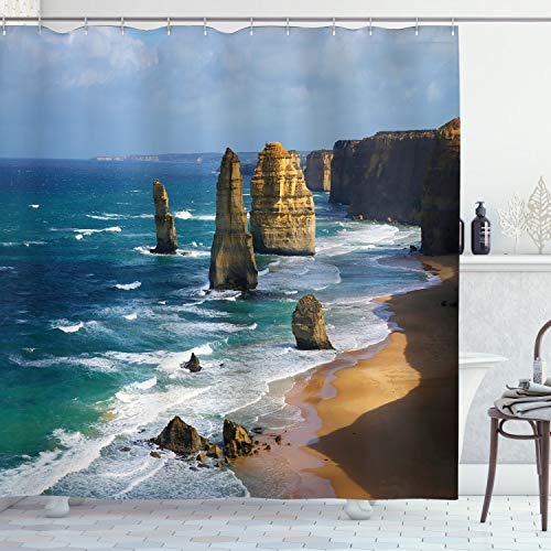 Ambesonne Seaside Decor Collection, Australia Rock Face Lookout by the Sea Sightseeing Panoramic Picture, Polyester Fabric Bathroom Shower Curtain, White Blue Teal