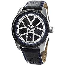 Road Rage Men's Quartz Brass and Leather Casual Watch, Color:Black (Model: RR100.Blue)