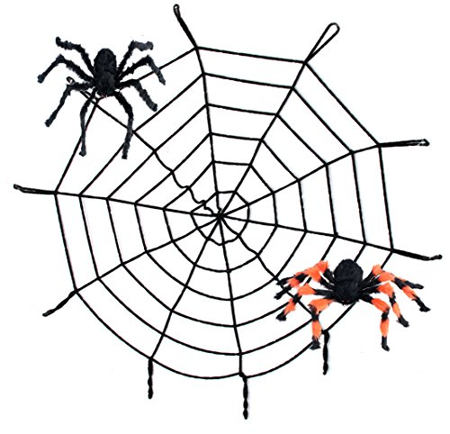 8.5FT Spider Web and Giant Spiders Halloween Decoration