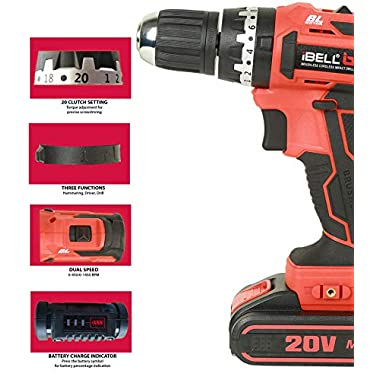 iBELL BM18-60 20V Brushless Impact Driver Drill (Cordless) with 2 Batteries, Charger, Case and Screw Driver Bit - 1 Year Warranty. 11