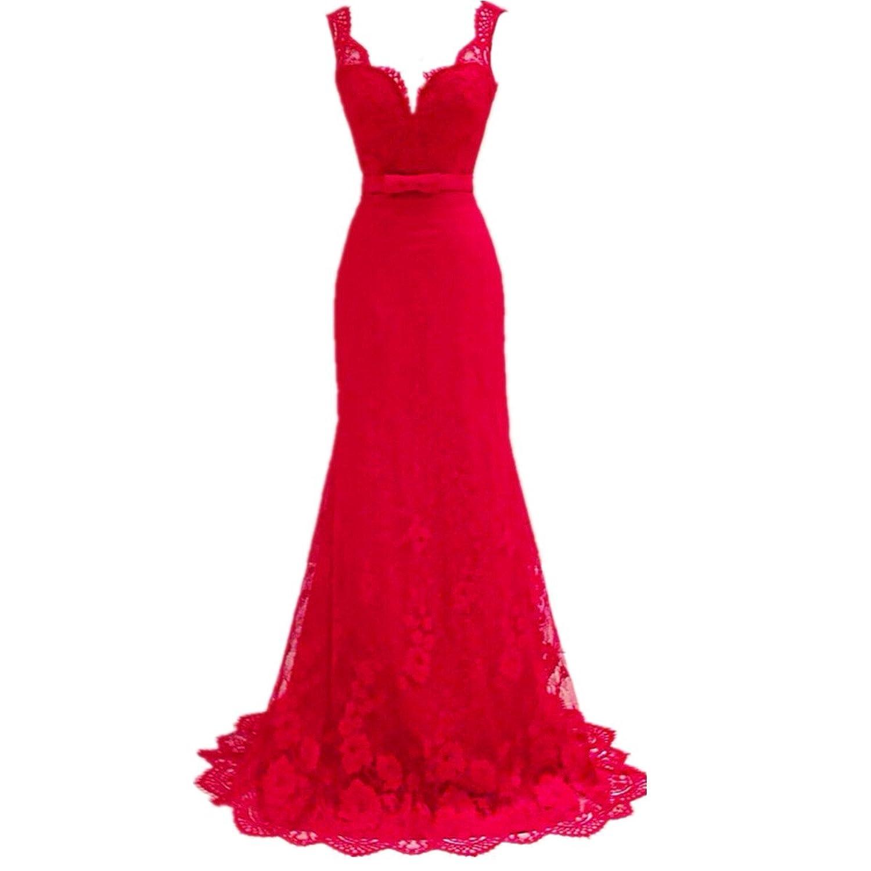 EMIN Damen Abendkleider Lang Festlich Elegant Sexy Kleider Partykleid Abschlussball Festlich Rot Abendmode