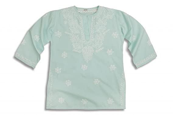 5c24d15d5105 Image Unavailable. Image not available for. Colour  Mini Children s Pale  Aqua Hand Embroidered Beach Cover Up Kaftan
