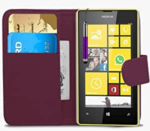 Tech Protect Nokia Lumia 520 Dark Purple Executive PU Leather Wallet Protective Case Cover & LCD Touch Screen Retractable Stylus & LCD Screen Protector