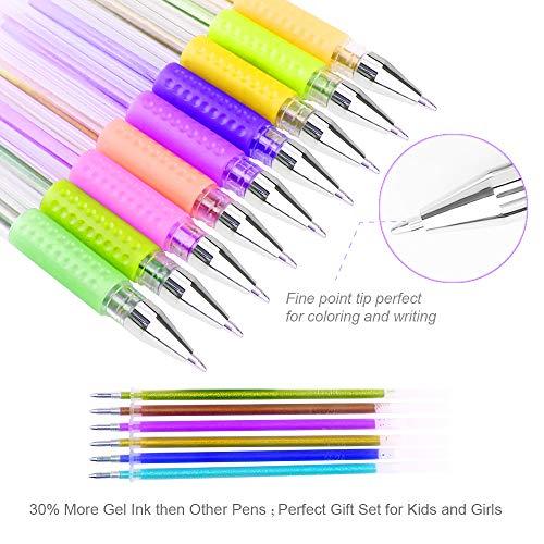 100 Color Glitter Gel Pen Set, 30% More Ink Neon Glitter Coloring Pens Art Marker for Adult Coloring Books Bullet Journal Crafting Doodling Drawing