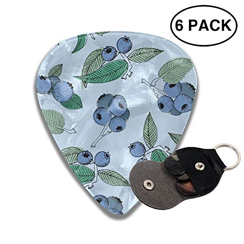 (FJSLIE Pistachio Ricotta Salad Guitar Picks Unique 351 Shape Celluloid Guitar Plectrums,6 Packs in Holder Case for Guitar Bass)