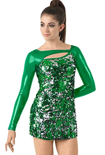 Metallic Figure Female (Balera Dress Girls Costume For Dance Womens Long Sleeve Sequin Dress With Metallic Long Sleeves Kelly Child Medium)