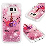 Galaxy S7 Edge Case, Clear Liquid Glitter Case Air-Cushion Drop Resistant Shiny Sparkle Flowing Moving Hearts Shock Absorption TPU Bumper Shell Protective Cover for Samsung Galaxy S7 Edge - Unicorn