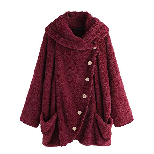 Women Vintage Oversize Coats GREFER Casual Button Turtleneck Big Pockets Cloak -