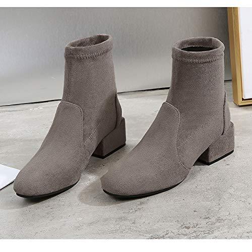 Shukun Stiefeletten Stretch-Stiefel Kurze Stiefel mit Einem Runden Kopf Strecken Kurze Stiefel dünne Damen Stiefel