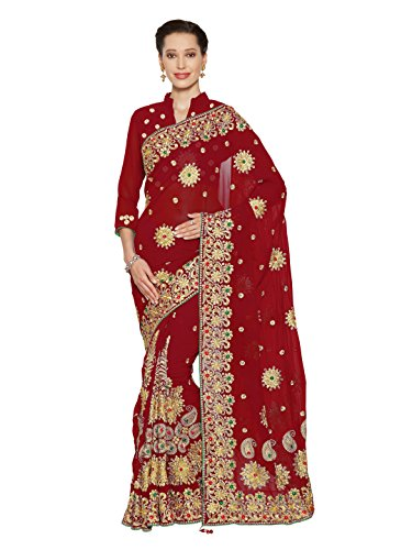 Bridal Sarees - Sourbh Mirchi Fashion Women's Faux Georgette Bridal Wedding Saree (4075_Red)