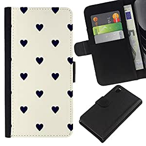 For Sony Xperia Z3 D6603 Case , Dot Heart Pattern Black Beige - la tarjeta de Crédito Slots PU Funda de cuero Monedero caso cubierta de piel