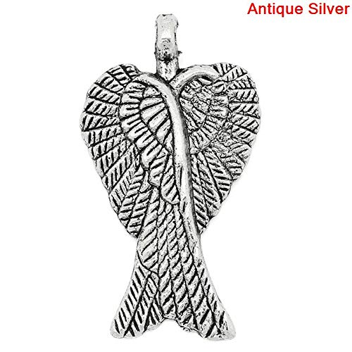 (PEPPERLONELY 50pc Antiqued Silver Alloy Angel Wing Charms Pendants 29x16mm (1-1/8