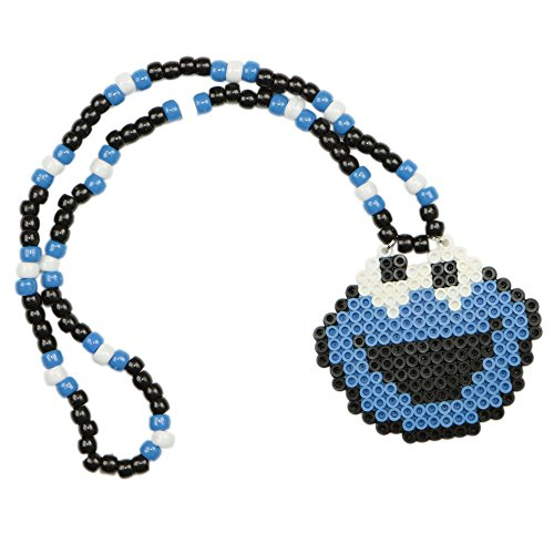[Cookie Monster Kandi Necklace, Perler Necklace, Rave Accessories, Beaded Necklaces] (Rave Monster Costume)